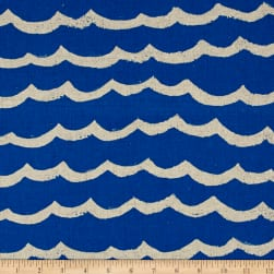 Cotton + Steel Kujira & Star Canvas Waves Blue Sea Fabric