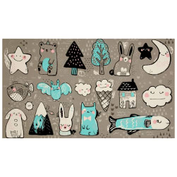 Cotton + Steel Sleep Tight Toys 23'' Panel Grey Fabric