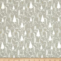 Cotton + Steel Sleep Tight Metallic Bunny Hill Neutral