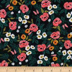 Cotton + Steel Rifle Paper Co. Wonderland Rayon Challis Painted Roses Black