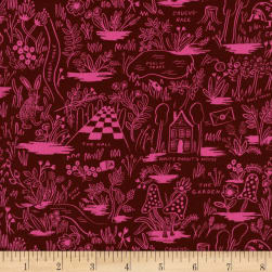Cotton + Steel Rifle Paper Co. Wonderland Rayon Challis Magic Forest Ruby