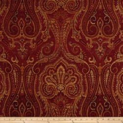Waverly Clubroom Paisley Chenille Jacquard Crimson Fabric
