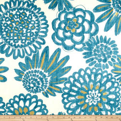 Genevieve Gorder Flower Pops Basketweave Peacock Fabric