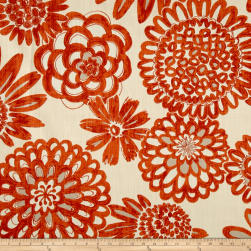 Genevieve Gorder Flower Pops Basketweave Tigerlily Fabric