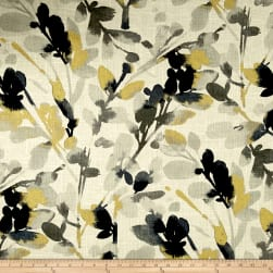 Waverly Leaf Storm Linen Graphite Fabric