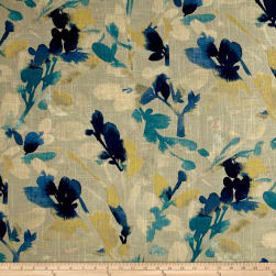 Waverly Leaf Storm Linen Indigo Fabric