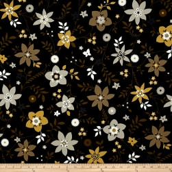 Flint Floral Black Fabric