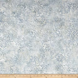 Indonesian Batik Small Scroll Flower Dusty Light Grey