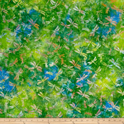 Indonesian Batik Dragonfly Green Fabric