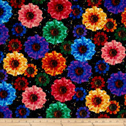 Timeless Treasures Radiance Allover Flowers Black Fabric