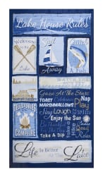 Timeless Treasures Lake Rules 23.5'' Panel Blue Fabric