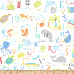 Timeless Treasures ABC's Under The Sea Sea Animal Alphabet White