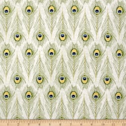 Timeless Treasures Exotic Metallic Peacock Feathers Cream Fabric