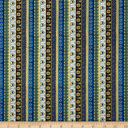 Timeless Treasures Exotic Metallic Ornate Stripe Multi Fabric