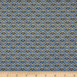 Timeless Treasures Alexandria Metallic Tonal Scallop Blue