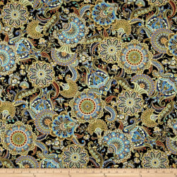 Timeless Treasures Alexandria Metallic Medallions Black Fabric