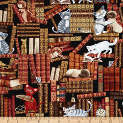 Timeless Treasures Cats In The Library Multi Fabric