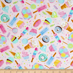 Timeless Treasures Sweet Treats Watercolor Sweets Pink Fabric