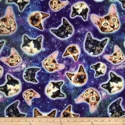 Timeless Treasures Galaxy Cats Cat Heads In Space