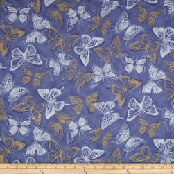 Shiny Objects Metallic Butterfly Bourree Periwinkle Fabric