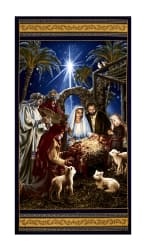 "Timeless Treasures Nativity 23.5"" Panel Navy"