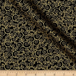Timeless Treasures Christmas Morning Metallic Scroll Black Fabric