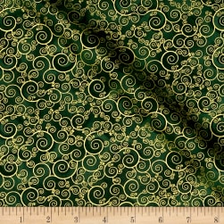 Timeless Treasures Christmas Morning Metallic Scroll Green Fabric