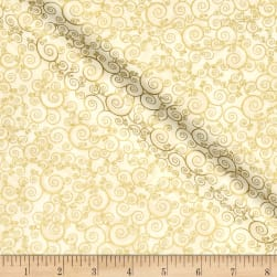 Timeless Treasures Christmas Morning Metallic Scroll Cream Fabric