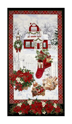 "Timeless Treasures Christmas Morning Metallic 24"" Snowy Home 23"" Panel Snow"