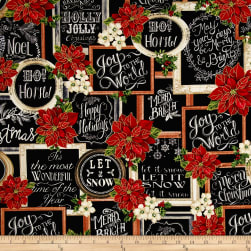 Timeless Treasures Christmas Morning Metallic Christmas Chalkboard Black