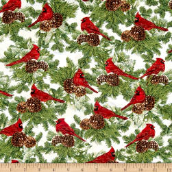 Timeless Treasures Christmas Morning Metallic Cardinals On Pine Ivory