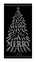 Timeless Treasures Be Merry 23'' Chalkboard Tree Panel Piano Fabric