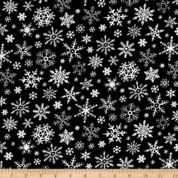 Timeless Treasures Be Merry Chalkboard Snowflakes Black Fabric