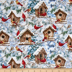 Timeless Treasures Jingle Bells Snowy Birdhouses Bird