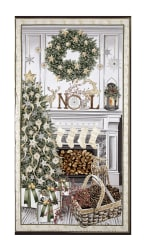 Timeless Treasures White Christmas Metallic Christmas Mantel 23