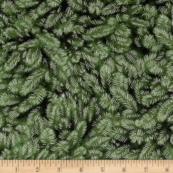 Timeless Treasures White Christmas Metallic Packed Pine Needles Green