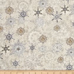 Timeless Treasures White Christmas Metallic Snowflakes Natural