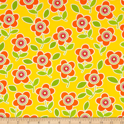Are We There Yet Floral Yellow Fabric