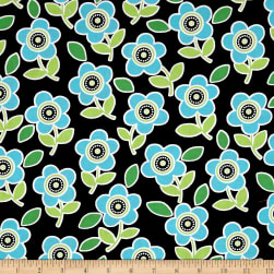 Are We There Yet Floral Black Fabric