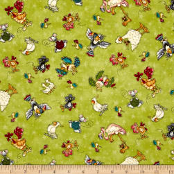 No Fowl Play Small Character Toss Green Fabric