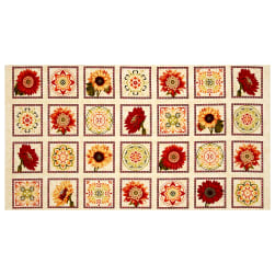 "Harvest Gathering Harvest Blocks 24"" Panel Cream"