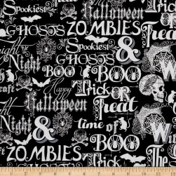 Fright Night Metallic Halloween Words Black Fabric