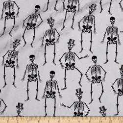 Fright Night Metallic Skeletons White Fabric