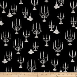 Fright Night Metallic Candelabras Black Fabric