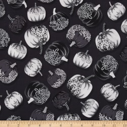 Fright Night Metallic Pumpkins Gray Fabric