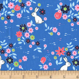 Michael Miller Front Yard Bunny Tracks Blueberry Fabric
