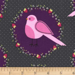 Michael Miller Front Yard Flower Bird Blackberry Fabric