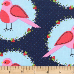 Michael Miller Front Yard Flower Bird Blueberry Fabric
