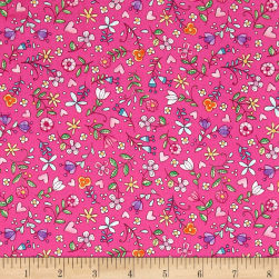 Michael Miller Tweet Me Bitty Blooms Pink Fabric
