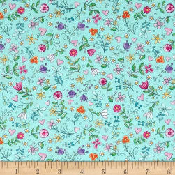 Michael Miller Tweet Me Bitty Blooms Aqua Fabric